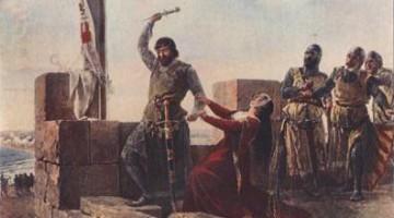 Guzmán ofreciendo su daga