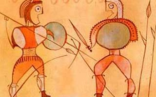 Guerreros numantinos - detalle en cerámica