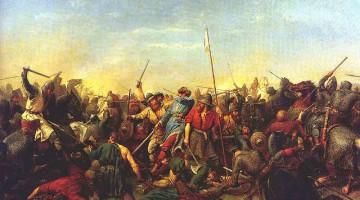 Muerte de Harald por una flecha en Stamford Bridge