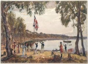 Arthur Philip izando la bandera en Sydney Cove