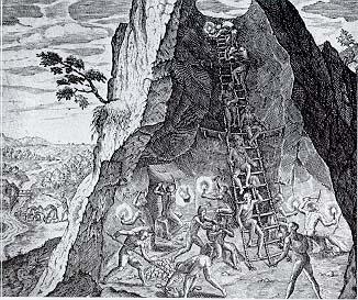 Indígenas trabajando en una mina