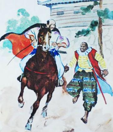 Ilustración moderna de Yasuke escoltando a su señor